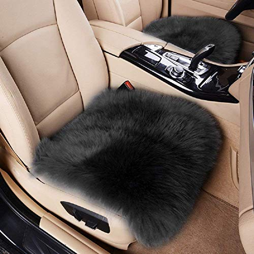 Big Ant Sheepskin Seat Covers, Authentic Australian Car Seat Pad Soft Long Wool Warm Seat Cushions Cover Winter Protector - Universal Fit for Cars Auto Supplies Driver Seat Office Chair (Black)