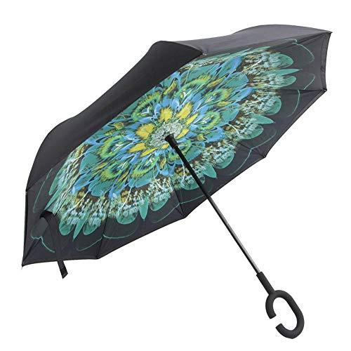 Coseyil Umgekehrter Regenschirm Mit Doppelschicht C-förmigem Griff Wasserdichter Handfreier Regenschirm