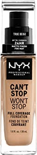 NYX PROFESSIONAL MAKEUP Can't Stop Won't Stop Full Coverage Foundation - True Beige, With Yellow Undertone