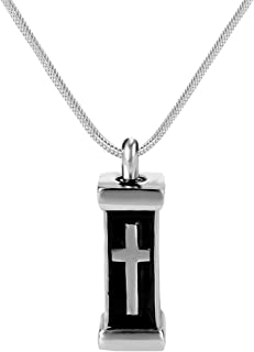 Cremation Urn Jewelry Waterproof Cross Tombstone Coffin Urn Pendant Memorial Remains Ashes Keepsake Necklace