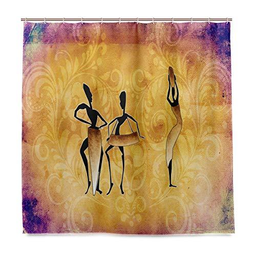 WAMIKA Badezimmer Duschvorhang Afrika Retro Vintage Design Haltbarer Stoff Bad Gardinen Schimmelresistent Wasserdicht Badezimmer 12Haken 183,0cm x183,0cm