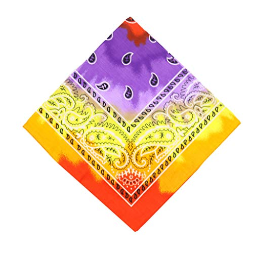 Xniral 1 Stk /12 Stk Bandanas Tie-Dye Farbverlauf Kopfwickelschal Armband Stirnbänder Halsmanschettenschal für Männer Frauen Multifunktionales Tuch(Lila-1 stk)
