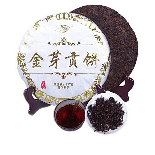 357g (0.787LB) Reifer Pu'er-Tee Alter Puer-Tee Yunnan Golden Bud Tribute Cake Puer-Tee Schwarzer Tee Gekochter Pu-Erh-Tee Pu-Erh-Tee Chinesischer Tee Gesunder Puerh-Tee Roter Tee Grüner Guter Shu Cha