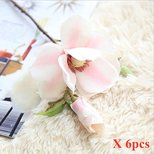 6pcs Artificial Flowers Magnolia Flower Bud Bridal Wedding Bouquet Real Touch Flower Bouquets Home Party Event Christmas New Year Wedding Mother's Day Gift Decoration , Vase Not Included