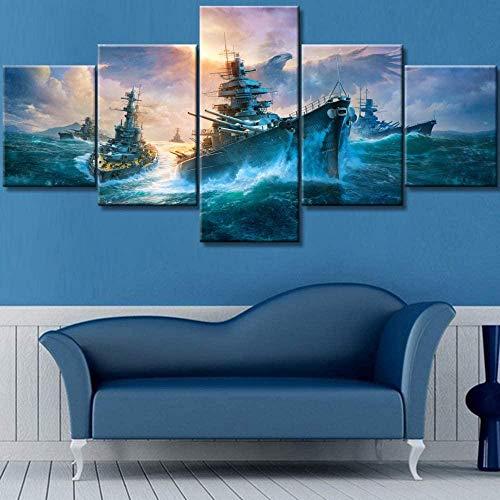 """Beoutifulso Wandbilder Für Wohnzimmer Kriegsschiff Schlachtboot Gemälde Düstere Landschaft Wandkunst Premium-Qualität Kunstwerk 5 Stück Leinwand Modernes Haus Dekor Und Drucke 59.0"""" X 31.119""""Inch -"""