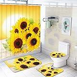 Sonnenblumen Duschvorhang-Sets mit Anti-Rutsch Teppichen, WC-Deckelbezug & Badematte, Blume im Sonnenuntergang, Duschvorhänge mit 12 Haken, Langlebiger wasserdichter Badvorhang