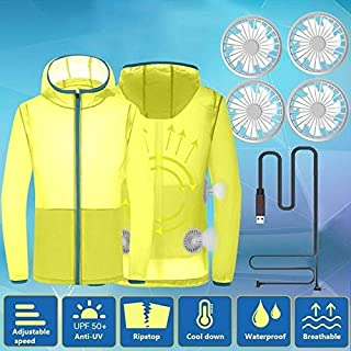 Safety vest Cool Coat Women Men Summer Cooling Jacket Fan Summer Outdoor Air-Conditioned Clothes MDYCUICAN (Color : Yellow, Size : M)