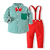 Hemopos Toddler boy Striped Shirt + Bow tie + Suspenders Suit Four-Piece Suit 1-5 Years Old boy Green