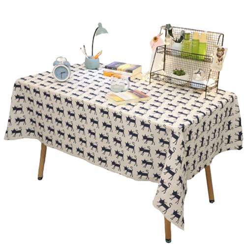 Tovaglia Rettangolare da Cucina in Poliestere Cartone Animato Modello Gatto Stampa Tovaglia Quadrata Hotel Tavolino Tovaglia Adatta per Soggiorno Decorazione Cucina Giardino Esterno 140x220cm