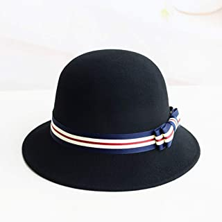 JCCOZ Ms. Wool Hat Child, British Retro Hat, Hit Color Bow Decoration, Wide-Brimmed Hats, Elegant Small Basin Cap, Autumn and Winter Warm Hat, (Color : E)