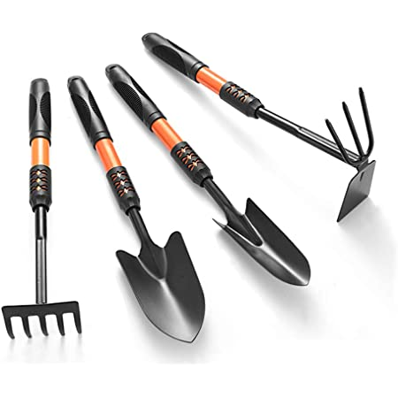 SAYPANLAR Gardening Tools,4 PCS Long Handled Gardening Tools Set made of High-Carbon Steel with Shovels,Hoes,Hand fork,Hand Rake,with Ergonomic Handle,Gardening Supplies for Woman and Men