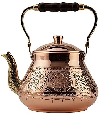DEMMEX 2019 Heavy Gauge 1mm Thick Natural Handmade Turkish Copper Engraved Tea Pot Kettle Stovetop Teapot, LARGE 3.1 Qt - 2.75lb (Engraved Copper)
