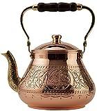 DEMMEX Handmade Heavy Gauge 1mm Thick Natural Turkish Copper Engraved Tea Pot Kettle Stovetop Teapot, LARGE 3.1 Qt - 2.75lb (Engraved Copper)