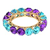 Rosec Jewels 14 quilates oro amarillo Octagon Shape violeta Blue Amethyst Topacio azul - Suizo