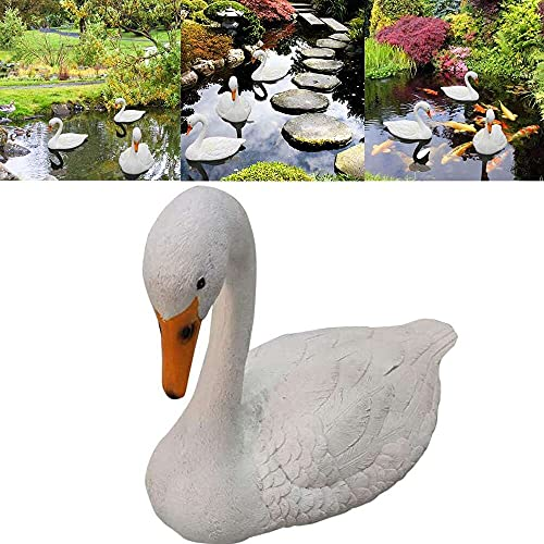 Gmasuber Flotante blanco cisne resina simulación agua señuelo jardín decoración para paisaje jardinería decoración