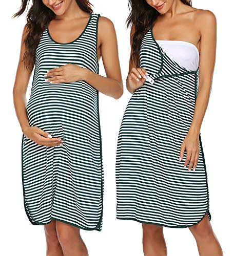 Ekouaer Women's Maternity Sleeveless Dress Striped Nightgown Pregnancy Gown for Breastfeeding Dark Green