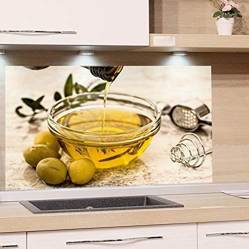 GRAZDesign Küchenrückwand Glas Bild Spritzschutz Küche Druck hinter Glas Bild Motiv Olivenöl Kunstdruck Gasherd Küchenbilder Glasscheibe / 80x60cm