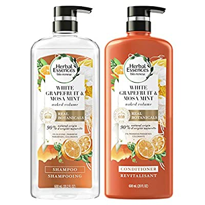Herbal Essences, Volume Shampoo & Conditioner Kit with Natural Source Ingredients, For Fine Hair, Color Safe, Bio Renew White Grapefruit & Mosa Mint Naked Volume, 20.2 fl oz, Kit from Procter & Gamble, Haba Hub