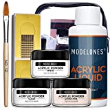 Modelones Acrylic Powder with Professional Liquid Monomer for Nail Extension Clear/White/Nude All in One Kit with Carrier Bag Acrylic Nail Brush Nail Form No Need Nail Lamp, MMA Free Monomer