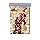 Tropical Animals - Juego de sábanas y fundas de almohada, diseño de canguro aborigen en tono crema, diseño de lunares, estampado decorativo de 3 piezas, tamaño super king, color marrón