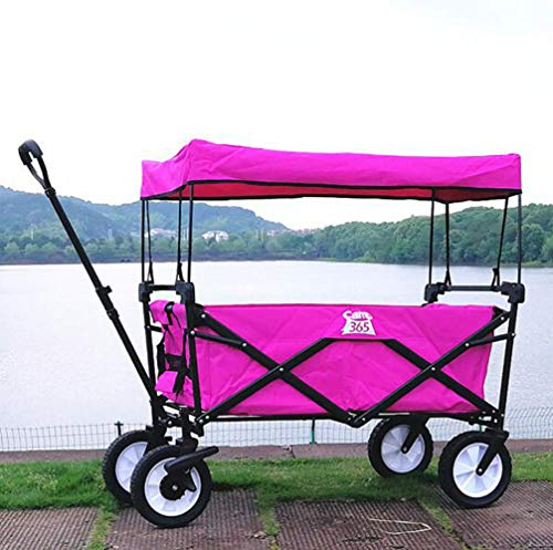 ROYWY Faltbarer Bollerwagen grau | UV-Schutzdach,Schubbügel,Bremsen,Crossprofilräder | 80kg Tragkraft | Handwagen,Transportwagen a/D:Pink