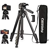 Tripod for Camera, 59 Inch Camera Tripod, Lightweight Aluminum Universal Video Camera Tripod Stand with Carrying Bag, Quick Release Plate, Phone Holder, Video Tripod for Travel, Vlog 6kg/13.2lb