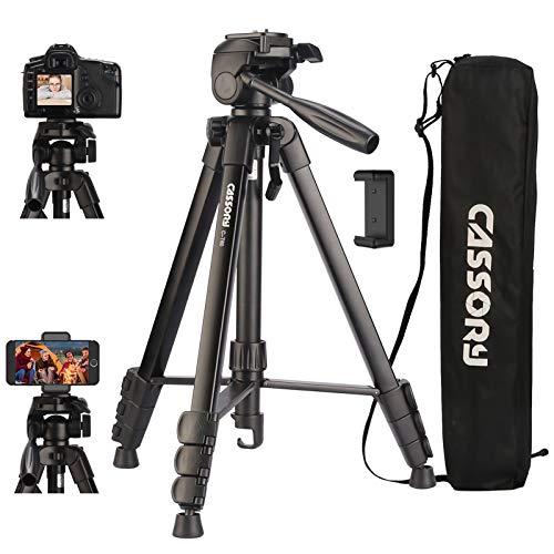 Kamerastativ 59-Zoll, 6 kg Stativ für Kamera und Telefon, Leichter Aluminium-Universal-Videokamerastativständer mit Tragetasche, Schnellwechselplatte, Telefonhalter, Videostativ für Reisen, Vlog