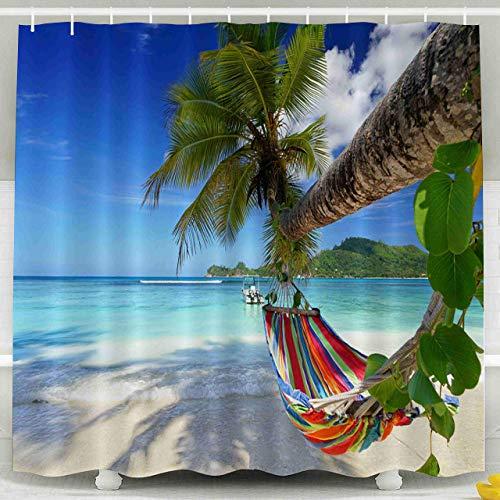 Aliyz Seychelles Tropical Shadow Beach Isla Tropical romántica cómoda decoración de Hamaca Cortina de Ducha Tela decoración de baño con Gancho 72x72 Pulgadas