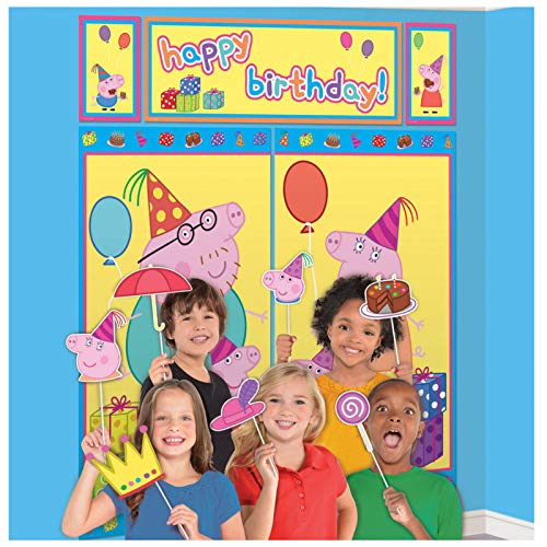 amscan Peppa Pig Birthday Scene Setter with Photo Props Kit- 17 pcs., Multi-colored, One Size