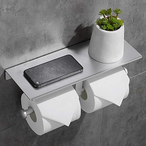 Geruike Doppelter Toilettenpapierhalter WC-Rollenhalter Kein Bohren mit Geräumigem Regal Ohne Bohren Wandhalterung Toilettenrollenhalter mit Handyhalter für Bad und Küche (Silber)
