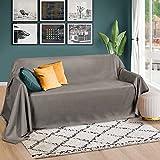 Beautissu Romantica Tagesdecke 210x280 cm - Wildleder-Optik Überdecke als Bettüberwurf und Sofaüberwurf Decke - Große Tagesdecken für Bett und Couch - Überwurfdecke in Grau