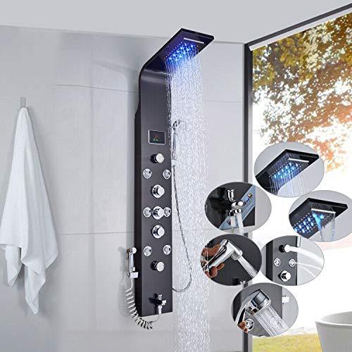 JUNSHENG LED Panel de Ducha, Panel de Ducha de Acero Inoxidable Columna de Hidromasaje,Con LED Alcachofas + LCD Pantalla de Temperatura + 6 Salida de Agua,negra