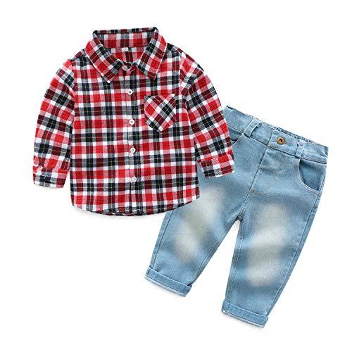 PUJIANGxian JongensDiverse revers geruite shirt met lange mouwen Stuk Fitted Jeans Hankie