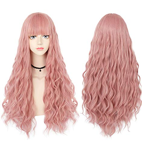 Anogol Hair Cap+Pink Wigs for Lolita Cospaly Costume Long Body Wave Wig for Girls Synthetic Wigs
