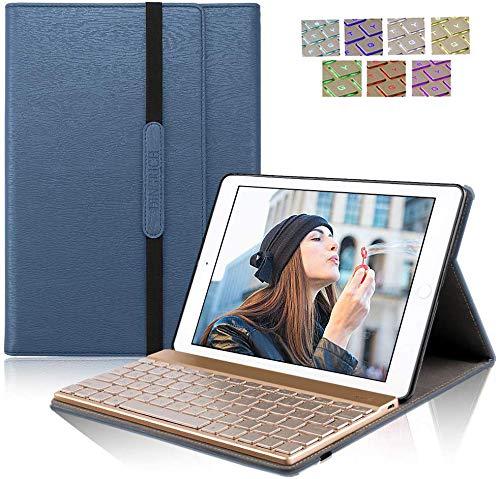 DINGRICH iPad 9.7 キーボード (第五世代、第六世代) ワイヤレスBluetooth キーボード 手帳型 PUレザーケース スタンド機能付き 新型 iPad 2017/2018 キーボード 9.7インチ専用 (ブルー)
