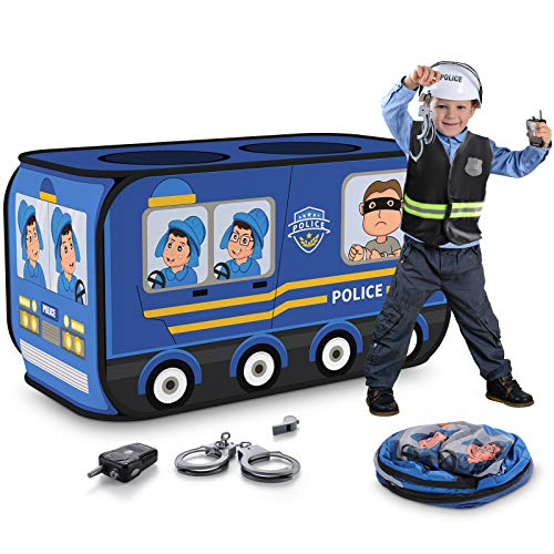 TEMI Police Car Kids Play Tent - Foldable Pop Up Pretend Play Tent | Playhouse for Kids Outdoor Indoor | Included Role Play Policeman Costume and Tools (44*16in)