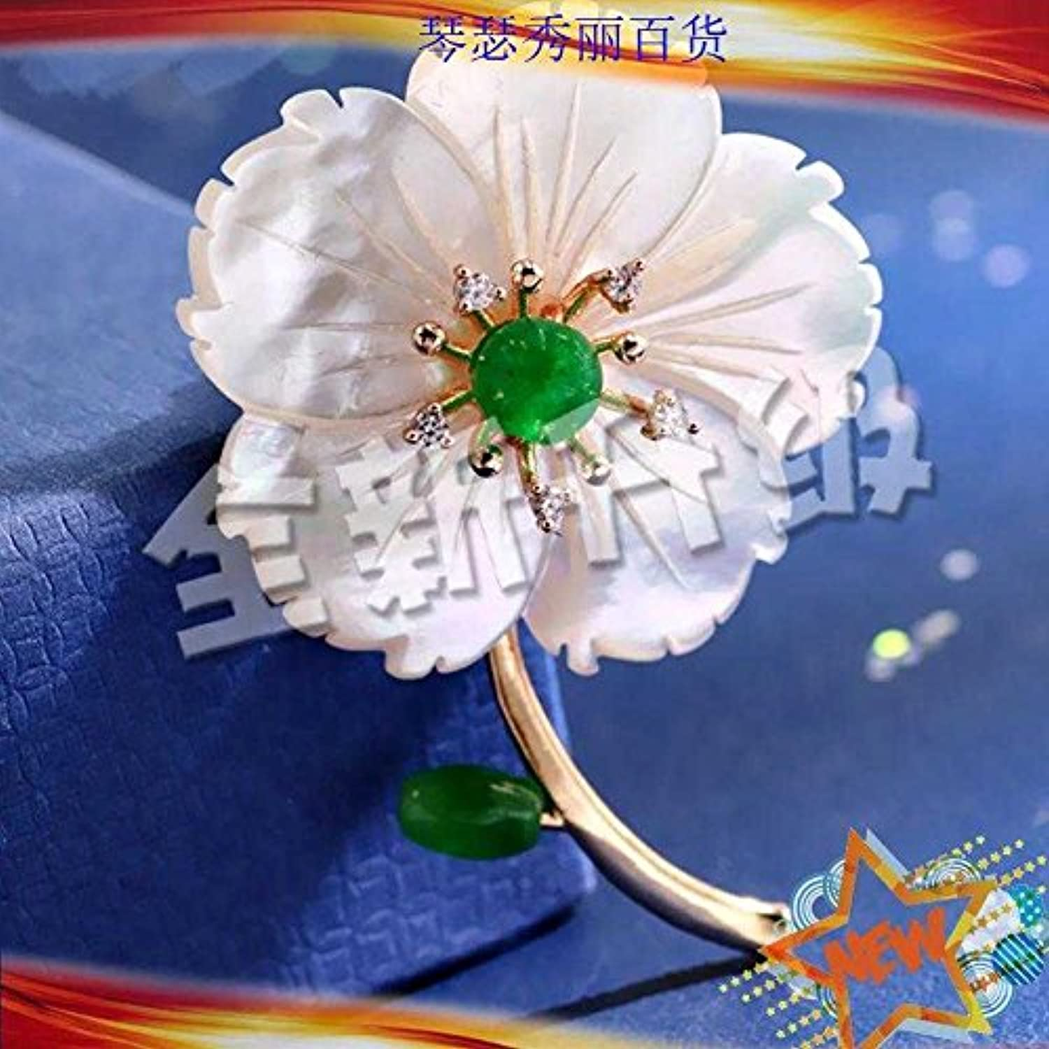 Style Green Chalcedony Complete Shell Flower Brooch pin Badge pin Dress Cheongsam Dress Retro Palace Ladies Learn
