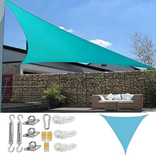 Shade Sail Bloqueador solar UV Cobertizo solar Protección triangular Cubierta exterior Jardín Patio Piscina Sombra Vela Toldo Camping Sombrilla (Color: Arena Color Tamaño: 5x5x5m)-Los 2x2x2m_Azul 0228