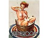 PotteLove Bathroom Door Sign Pin Up Girl Sexy Enamel Metal