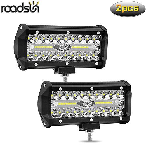 Roadsun 7 pulgadas 120W LED Barra de luz Spot Beam 12000LM Offroad Faros antiniebla LED Lámpara de trabajo de conducción 12V 24V 6000K Xenon Blanco - 2 piezas