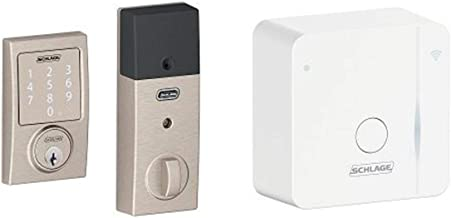 Schlage Sense Smart Deadbolt with Century Trim Satin Nickel (BE479 CEN 619) with Wi-Fi adapter