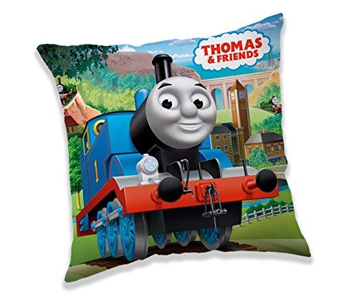Jerry Fabrics Dekorative Wurfkissen für Kinder, Thomas und Friends Charakterkissen, Polyester, Mehrfarbig, 40 x 40 x 5 cm