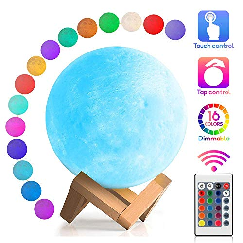 YouOKLight Moon Lamp, 16 Colors LED Moon Light with Stand & Remote&Touch Control and USB Rechargeable, Night Lights for Baby Kids Lover Birthday Party Gifts, Diameter 5.9 INCH