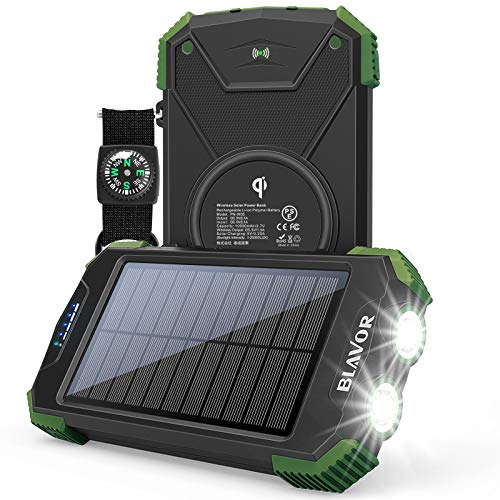 Solar Charger Power Bank, Qi Wireless Charger 10,000mAh External Battery Pack Type C Input Port Dual...