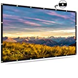 120 inch Projection Screen 16:9 HD Professional PVC Projection Cloth Foldable Anti-Crease Portable Projector Movies Screen for Home Theater Outdoor Indoor Only Supports Front Projection (120Inch)