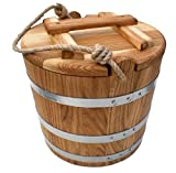 Pickle Barrel, 10 liters Oak Bucket for Pickles with a Lid, Ice Bucket, Rustic Wooden Bucket, Farmhouse Waterware