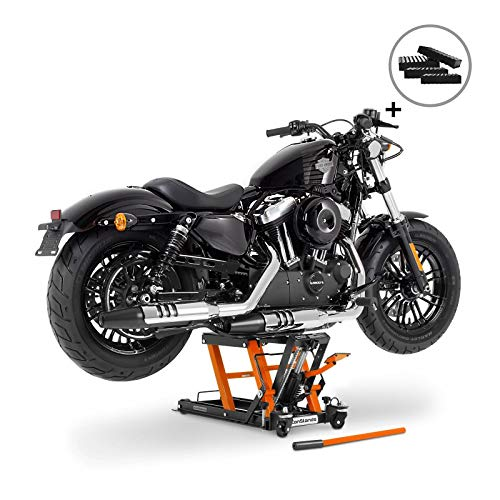 Motorrad-Hebebühne Hydraulisch Sicherung 4 Distanzstücke Orange für Harley Davidson Dyna Fat/Street Bob/Switchback
