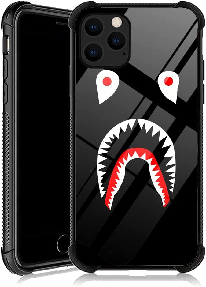 iPhone 12 Pro Max Case, Black Shark iPhone 12 Pro Max Cases with 4 Corners Shockproof Protection Soft Silicone TPU Bumper and Hard PC Pattern Back Case for Apple iPhone 12 Pro Max