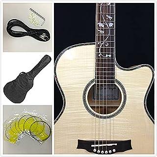 Caraya 837CEQ/N All Flame Maple Acoustic Guitar w/EQ,Tuner,Cutaway+Free gig bag