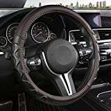 Black Panther Car Steering Wheel Cover with Wave Pattern Anti-Slip Design, 15 inch Universal - Red Line